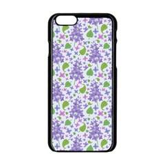 Liliac Flowers And Leaves Pattern Apple Iphone 6/6s Black Enamel Case by TastefulDesigns