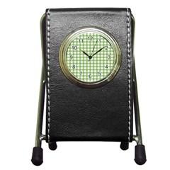 Avocado Green Gingham Classic Traditional Pattern Pen Holder Desk Clocks by CircusValleyMall