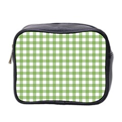 Avocado Green Gingham Classic Traditional Pattern Mini Toiletries Bag 2 Side by CircusValleyMall