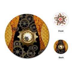Steampunk Golden Design With Clocks And Gears Playing Cards (round)  by FantasyWorld7