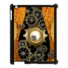 Steampunk Golden Design With Clocks And Gears Apple Ipad 3/4 Case (black) by FantasyWorld7