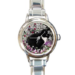 Freckles In Flowers Ii, Black White Tux Cat Round Italian Charm Watch by DianeClancy
