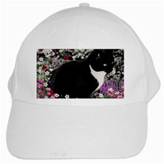 Freckles In Flowers Ii, Black White Tux Cat White Cap by DianeClancy