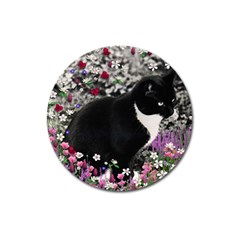 Freckles In Flowers Ii, Black White Tux Cat Magnet 3  (round) by DianeClancy