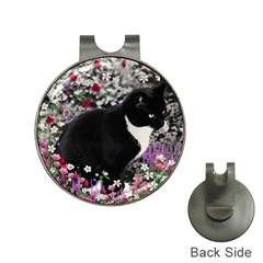 Freckles In Flowers Ii, Black White Tux Cat Hat Clips With Golf Markers by DianeClancy