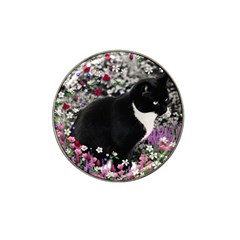 Freckles In Flowers Ii, Black White Tux Cat Hat Clip Ball Marker (4 Pack) by DianeClancy