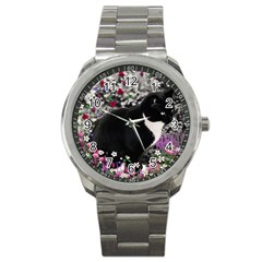 Freckles In Flowers Ii, Black White Tux Cat Sport Metal Watch by DianeClancy