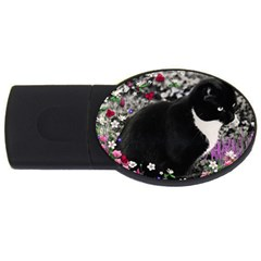 Freckles In Flowers Ii, Black White Tux Cat Usb Flash Drive Oval (4 Gb)  by DianeClancy