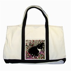 Freckles In Flowers Ii, Black White Tux Cat Two Tone Tote Bag by DianeClancy