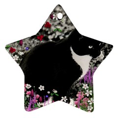 Freckles In Flowers Ii, Black White Tux Cat Star Ornament (two Sides)  by DianeClancy