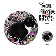 Freckles In Flowers Ii, Black White Tux Cat Playing Cards 54 (round)  by DianeClancy