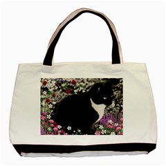 Freckles In Flowers Ii, Black White Tux Cat Basic Tote Bag (two Sides) by DianeClancy