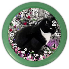 Freckles In Flowers Ii, Black White Tux Cat Color Wall Clocks by DianeClancy