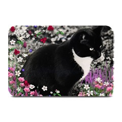 Freckles In Flowers Ii, Black White Tux Cat Plate Mats by DianeClancy
