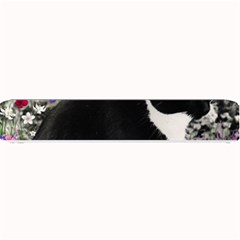 Freckles In Flowers Ii, Black White Tux Cat Small Bar Mats by DianeClancy