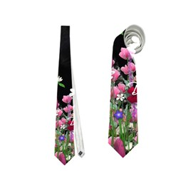 Freckles In Flowers Ii, Black White Tux Cat Neckties (two Side)  by DianeClancy