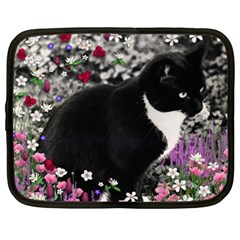 Freckles In Flowers Ii, Black White Tux Cat Netbook Case (large) by DianeClancy