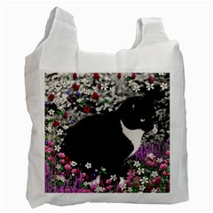 Freckles In Flowers Ii, Black White Tux Cat Recycle Bag (two Side)  by DianeClancy