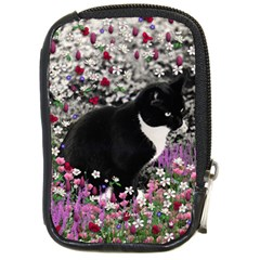 Freckles In Flowers Ii, Black White Tux Cat Compact Camera Cases by DianeClancy