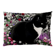 Freckles In Flowers Ii, Black White Tux Cat Pillow Case (two Sides) by DianeClancy