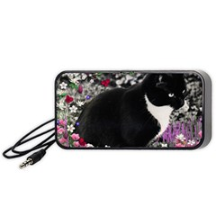 Freckles In Flowers Ii, Black White Tux Cat Portable Speaker (black)  by DianeClancy