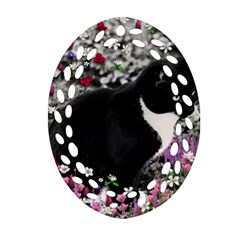 Freckles In Flowers Ii, Black White Tux Cat Oval Filigree Ornament (2 Side)  by DianeClancy