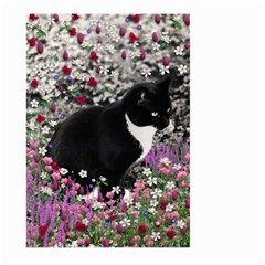 Freckles In Flowers Ii, Black White Tux Cat Large Garden Flag (two Sides) by DianeClancy