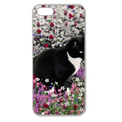 Freckles In Flowers Ii, Black White Tux Cat Apple Seamless Iphone 5 Case (clear) by DianeClancy