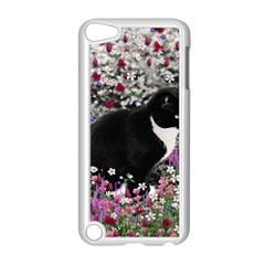 Freckles In Flowers Ii, Black White Tux Cat Apple Ipod Touch 5 Case (white) by DianeClancy