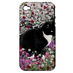 Freckles In Flowers Ii, Black White Tux Cat Apple Iphone 4/4s Hardshell Case (pc+silicone) by DianeClancy