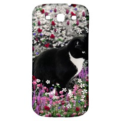 Freckles In Flowers Ii, Black White Tux Cat Samsung Galaxy S3 S Iii Classic Hardshell Back Case by DianeClancy