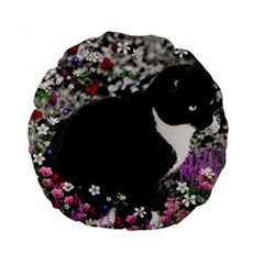 Freckles In Flowers Ii, Black White Tux Cat Standard 15  Premium Round Cushions by DianeClancy