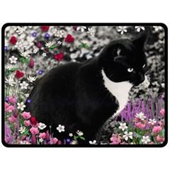 Freckles In Flowers Ii, Black White Tux Cat Double Sided Fleece Blanket (large)  by DianeClancy