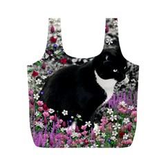 Freckles In Flowers Ii, Black White Tux Cat Full Print Recycle Bags (m)  by DianeClancy