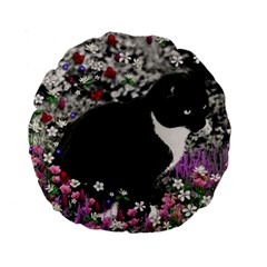 Freckles In Flowers Ii, Black White Tux Cat Standard 15  Premium Flano Round Cushions by DianeClancy