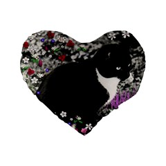 Freckles In Flowers Ii, Black White Tux Cat Standard 16  Premium Flano Heart Shape Cushions by DianeClancy