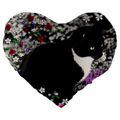 Freckles In Flowers Ii, Black White Tux Cat Large 19  Premium Flano Heart Shape Cushions by DianeClancy
