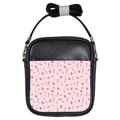Cute Pink Birds And Flowers Pattern Girls Sling Bags by TastefulDesigns