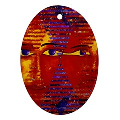 Conundrum Iii, Abstract Purple & Orange Goddess Ornament (oval)  by DianeClancy