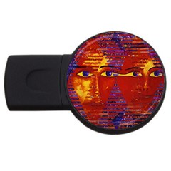 Conundrum Iii, Abstract Purple & Orange Goddess Usb Flash Drive Round (2 Gb)  by DianeClancy