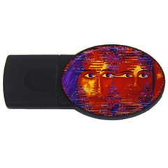 Conundrum Iii, Abstract Purple & Orange Goddess Usb Flash Drive Oval (2 Gb)  by DianeClancy