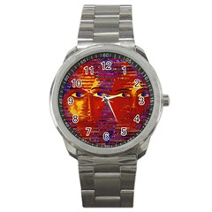 Conundrum Iii, Abstract Purple & Orange Goddess Sport Metal Watch by DianeClancy