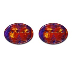Conundrum Iii, Abstract Purple & Orange Goddess Cufflinks (oval) by DianeClancy