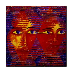 Conundrum Iii, Abstract Purple & Orange Goddess Face Towel by DianeClancy