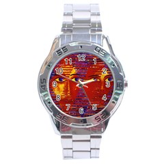 Conundrum Iii, Abstract Purple & Orange Goddess Stainless Steel Analogue Watch by DianeClancy