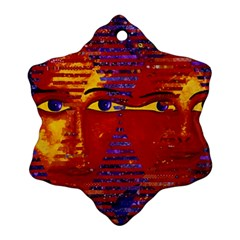 Conundrum Iii, Abstract Purple & Orange Goddess Ornament (snowflake)  by DianeClancy