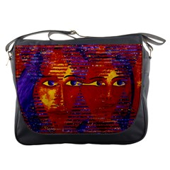 Conundrum Iii, Abstract Purple & Orange Goddess Messenger Bags by DianeClancy