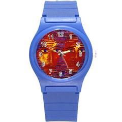 Conundrum Iii, Abstract Purple & Orange Goddess Round Plastic Sport Watch (s) by DianeClancy