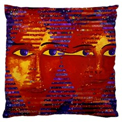 Conundrum Iii, Abstract Purple & Orange Goddess Large Cushion Case (one Side) by DianeClancy