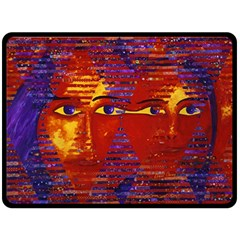 Conundrum Iii, Abstract Purple & Orange Goddess Double Sided Fleece Blanket (large)  by DianeClancy